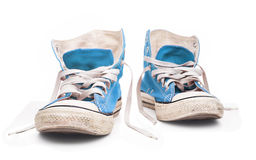 Blue sneakers with white laces. Blue sneakers with white laces & Second hand Stock Image
