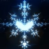 Blue Snow. Detailed fractal snow flake with heart shapes vector illustration