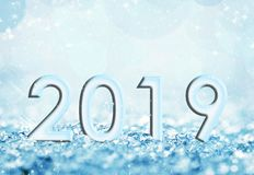 2019 blue snow and bokeh lights greeting card. 2019, blue snow and bokeh lights greeting card royalty free illustration