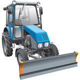 Blue snow fighter tractor Stock Images
