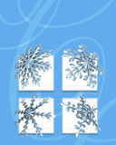 Blue snow flakes. A decorative illustration of 3d snowflakes with space left for copy Stock Image