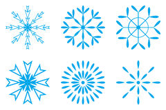 Blue snow flakes set Royalty Free Stock Images