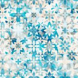Blue snow flowers seamless pattern Royalty Free Stock Images