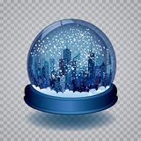 Blue snow globe. Vector Christmas in the city with blue snow globe Stock Image