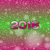 Blue Snow 2016. Psycho color background with falling snow and numbers of 2016. New year symbol Stock Photography