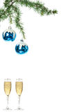 Blue snow roud ball ornaments for Christmas tree with two glasse Stock Photo