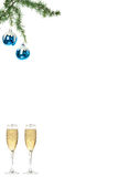 Blue snow roud ball ornaments for Christmas tree with two glasse Royalty Free Stock Photography