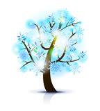 Blue snow tree Royalty Free Stock Images