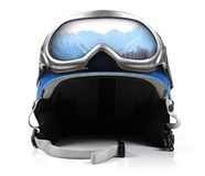 Blue snowboard helmet with goggles Stock Photos