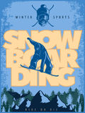 Blue Snowboarding Poster Stock Image