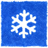 Blue snowflake. High resolution pencil drawn blue snowflake Stock Image