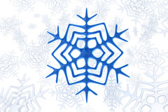 Blue snowflake. Over white snowflakes background 3d illustration Royalty Free Stock Photo