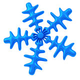 Blue snowflake, 3d icon. Dark blue snowflake - winter and Christmas symbol, 3d image Stock Photo