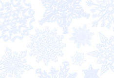 Blue Snowflake Background. A Christmas/winter background of blue faded snowflakes on white Royalty Free Stock Photos