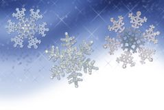 Blue Snowflake Border. Illustration of a horizontal snowflake border in shades of blue Stock Photography