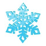 Blue snowflake. 3d symbol. Vector illustration isolated on white background royalty free illustration