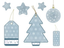Blue snowflake gift tags Royalty Free Stock Images