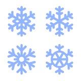Blue Snowflake Icons Set on White Background Royalty Free Stock Images