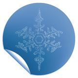 Blue snowflake label Stock Image