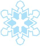 Blue snowflake light. A light blue snow flake on a white background Royalty Free Stock Photography