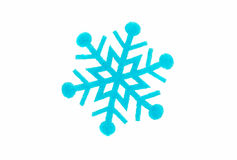 Blue snowflake made of felt Royalty Free Stock Images