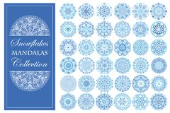 Blue Snowflake Mandalas Set Royalty Free Stock Photography