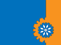 Blue snowflake on orange a blue background Stock Photos