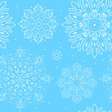 Blue  snowflake seamless pattern. Elegant illustration Royalty Free Stock Photos