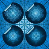 blue snowflake stickers Stock Photos