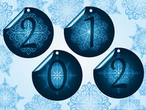 Blue snowflake stickers on winter background Royalty Free Stock Images