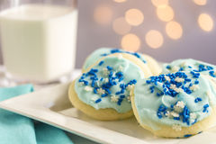 Blue Snowflake Sugar Cookies Stock Images