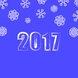Blue Snowflake Winter Background. Christmas Banner. 2017 New Year Poster on Blue Snowflake Winter Background Royalty Free Stock Image