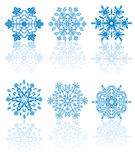 Blue Snowflakes. Different forms of Snowflakes, illustration Stock Image