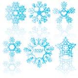 Blue snowflakes Stock Photos