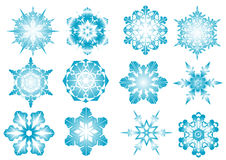Blue snowflakes. Beautiful vector blue snowflakes on a white background stock illustration
