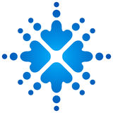 Blue snowflakes with arrows Stock Photo