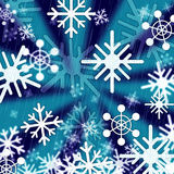 Blue Snowflakes Background Means Freezing Seasons And Christmas Royalty Free Stock Photos