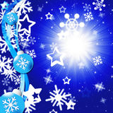 Blue Snowflakes Background Shows Bright Sun And Snowing Stock Photos