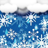 Blue Snowflakes Background Shows Snow Cloud And Snowing Stock Photos