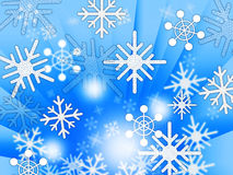 Blue Snowflakes Background Shows Weather Freezing And Winter. Blue Snowflakes Background Showing Weather Freezing And Winter Royalty Free Stock Photography