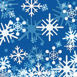 Blue Snowflakes Background Shows Winter And Frozen Royalty Free Stock Images