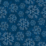 Blue snowflakes on blue background seamless pattern Stock Photo