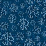 Blue snowflakes on blue background seamless pattern Stock Photo