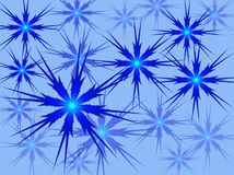 Blue snowflakes on a blue background. Vector image. Royalty Free Stock Image