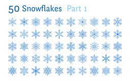 Blue snowflakes collection isolated on white background. Flat line snowing icons bundle, cute snow flakes silhouette. Nice element for christmas banner, cards royalty free illustration