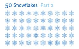 Blue snowflakes collection isolated on white background. Flat line snowing icons bundle, cute snow flakes silhouette. Nice element for christmas banner, cards vector illustration