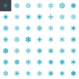 Blue snowflakes elements collection, flat icons set. Colorful symbols pack contains - snow, flake, winter, decoration, Christmas. Vector illustration. Flat vector illustration
