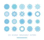 Blue snowflakes, fractals or mandala. Stock Photo