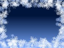 Blue snowflakes frame stock images