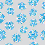 Blue snowflakes on grey background. Vector illustration Royalty Free Stock Images
